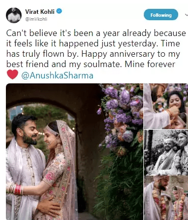 Virat Kohli and Anushka Sharma wedding anniversary